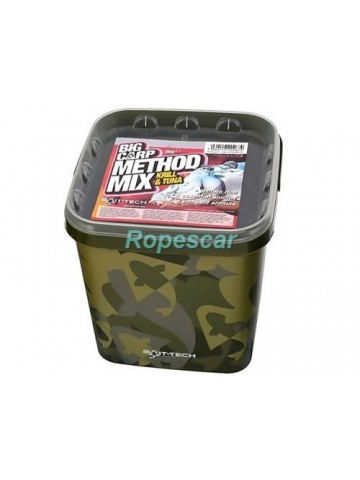 Pelete Camo Bucket Big Carp Method Mix Krill and Tuna Pellets,galeata 3,0 kg - Bait-Tech